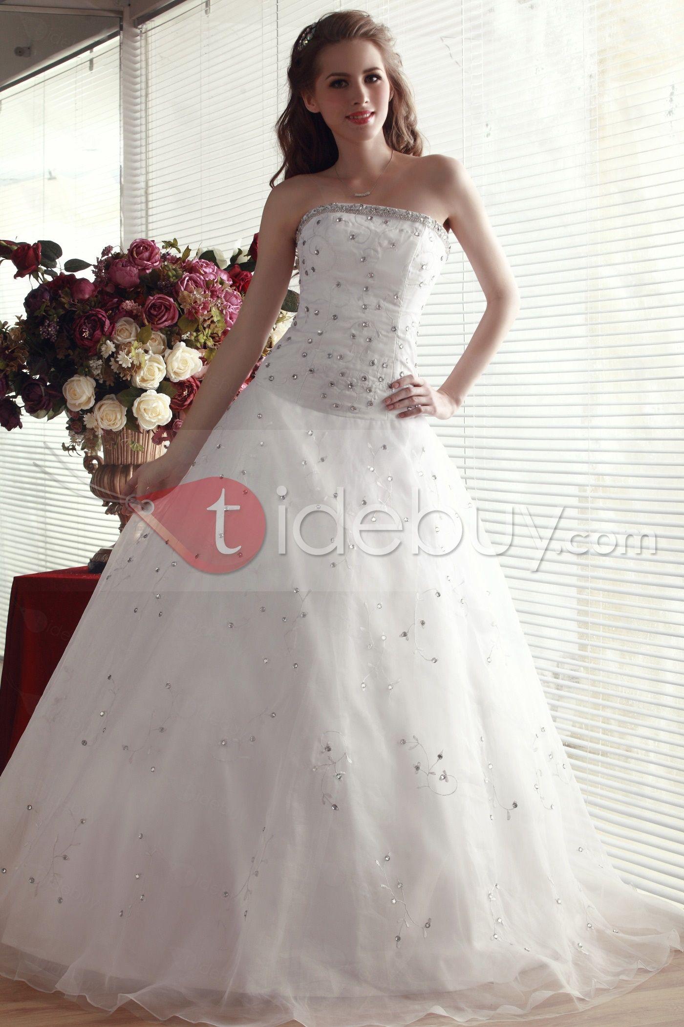 Silueta Ball Gown Largo al Piso sin Tirantes Beaded Vestido de Quinceañera Nadya's Quinseañera dresses ♥LB♥ http://es.tidebuy.com