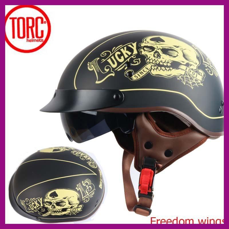 de195a420c75b TORC T55 vintage jet motorcycle Harley helmetretro scooter half helmet with  Builtin visor lens moto casco
