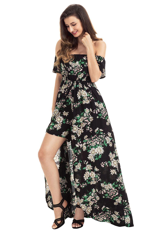 Maxi dress for wedding  Off The Shoulder Black Vibrant Floral Romper Maxi Dress  Maxi