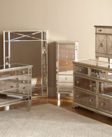 Marais Mirrored Furniture Collection, Mirrored Glass Bedroom Furniture