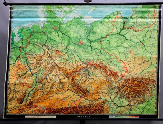 Geographical Map Of Germany.Vintage Picture Poster Geographical Wall Chart Map Germany
