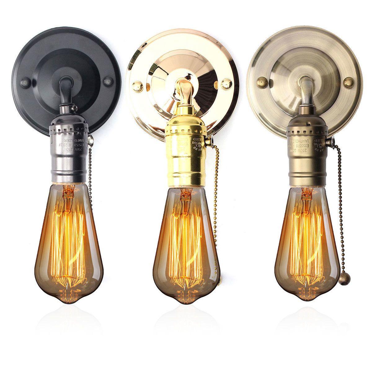 Chain Switched Light Lamp Holder Edison E27 Antique Vintage Rose Gold