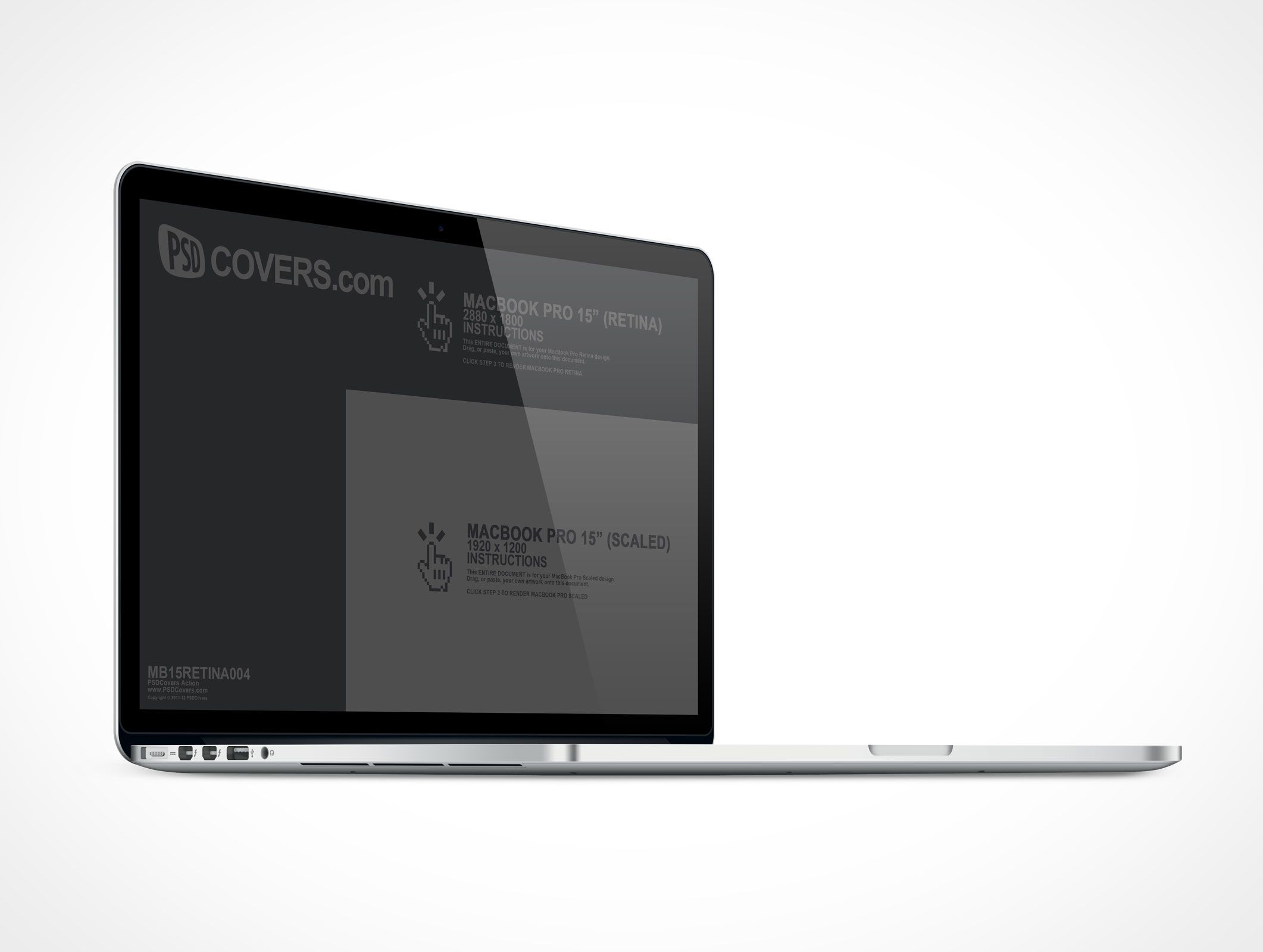 MB15RETINA004 is the MacBook Pro with Retina display resolution of 2880 x 1800 @ 300DPI. Similar to MB15RETINA002, this Cover Action displays the MacBook Pro Retina from the left side with the screen at 90° rather than 70°. Supports rendering your 1920 x 1200 designs as well. Great for your application mockups. #displayresolution