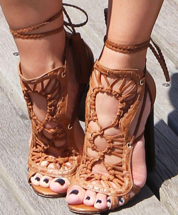 Schutz Women Heels Natally Amber Light Leather upper with wrap tie flair AIWQIGF