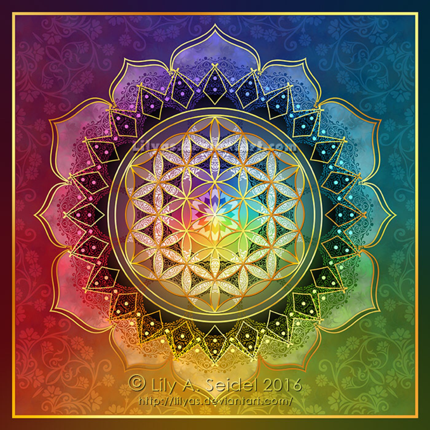 Rainbow Flower Of Life Lotus By Lilyas On Deviantart Mandalk In