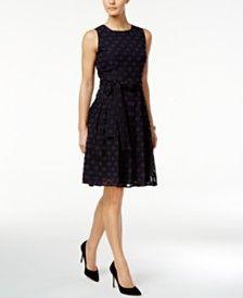 Tommy Hilfiger Belted Dot-Texture Fit & Flare Dress