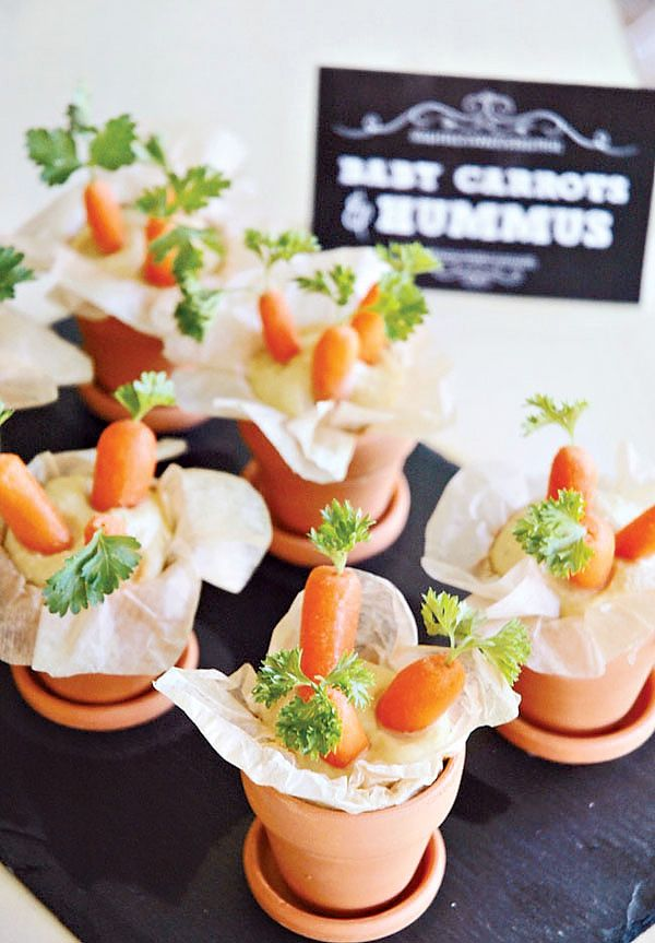 too cute party snack idea baby carrots in hummus this looks like something aofcatering would do