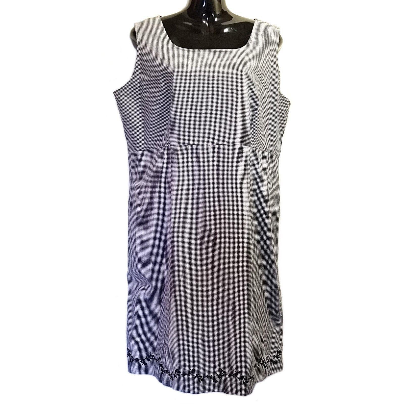 Navy Blue Gingham Shift Dress Liz Claiborne Sport Womens Size 16 Sleeveless f640