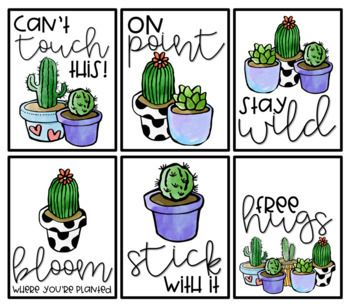 Cactus Decor | Cactus Theme | Motivational Posters