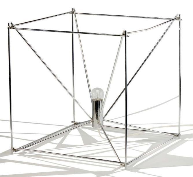Max Sauze 1933 Lampe A Structure En Fil D Acier Cintre Et Chrome De Forme Cubique Avec Eclairage Central Circa 1970 H 48 L 48 Cm Cintre Lampe Eclairage