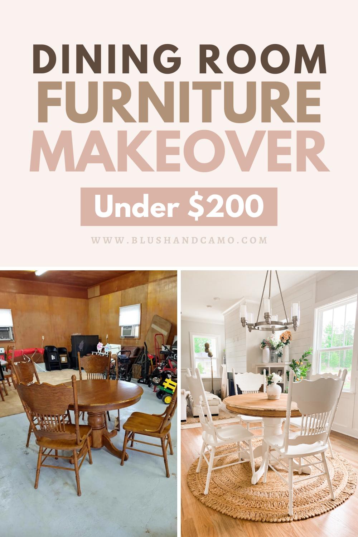 dining room furniture makeover under 200  blush  camo