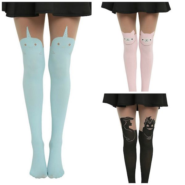 Thigh-High Tights Now Available With Narwhals, Alpacas And Disney Villains Read more at http://fashionablygeek.com/accessories/narwhal-thigh-high-tights/#72ZoOATiX5EZd5BG.99