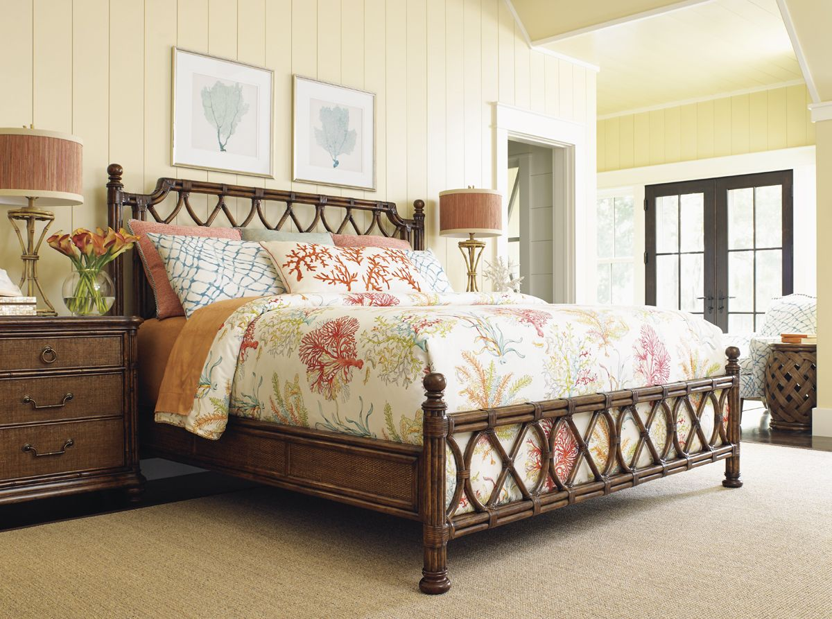 Island breeze rattan bed lexington home brands - Tommy bahama beach house bedroom ...