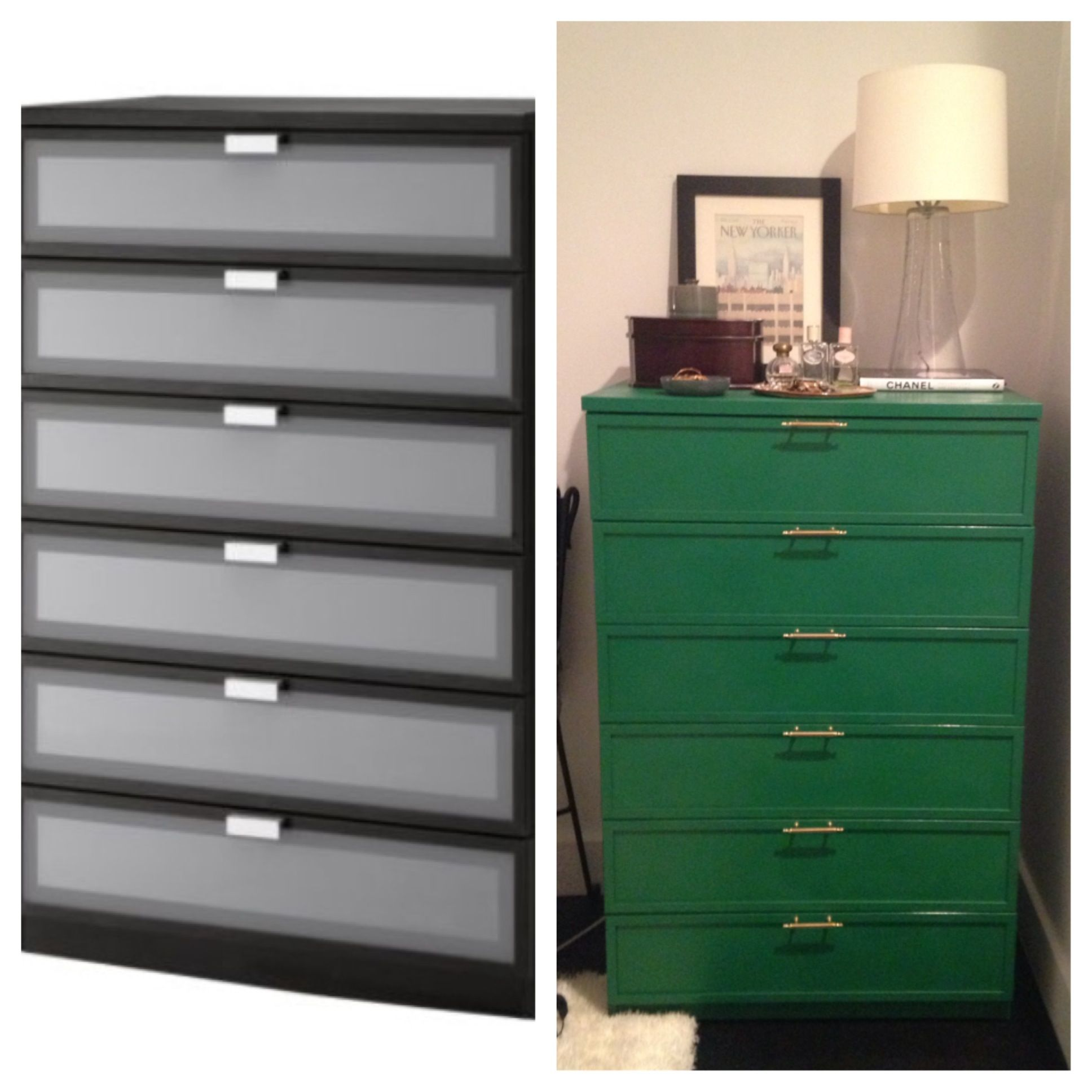 Before And After Ikea Dresser Refinish Used Rust Oleum Painters Touch Meadow Green