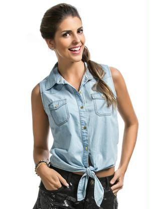 b71be9a31 Camisa Jeans Feminina Lunender Jeans Claro - Posthaus | Moda | Denim ...