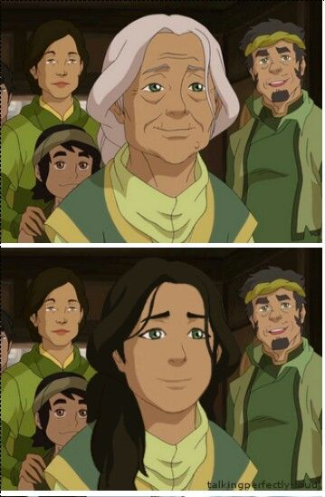 Young and old version of Mako's and Bolin's grandmother