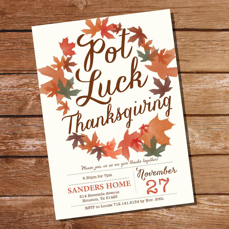 Thanksgiving Invitation Template Lovely Pot Luck