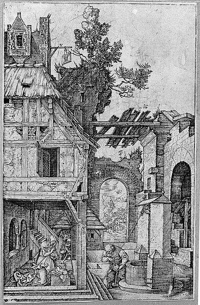 1504 'Christmas'  (Die Weyhnachten) by Albrecht Dürer (1471–1528)   Copper plate.   Credit: National Museum Warsaw via wikipedia.org