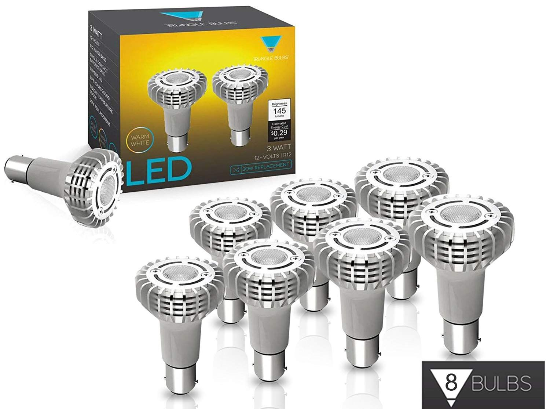 Triangle Bulbs 8 Pack 1383 Miniature Reflector Elevator Led Light Bulbs 3 Watt 12v Ba15s Base Lamps Cree 3000k Warm White Led Light Bulbs 3watt Led Bulb
