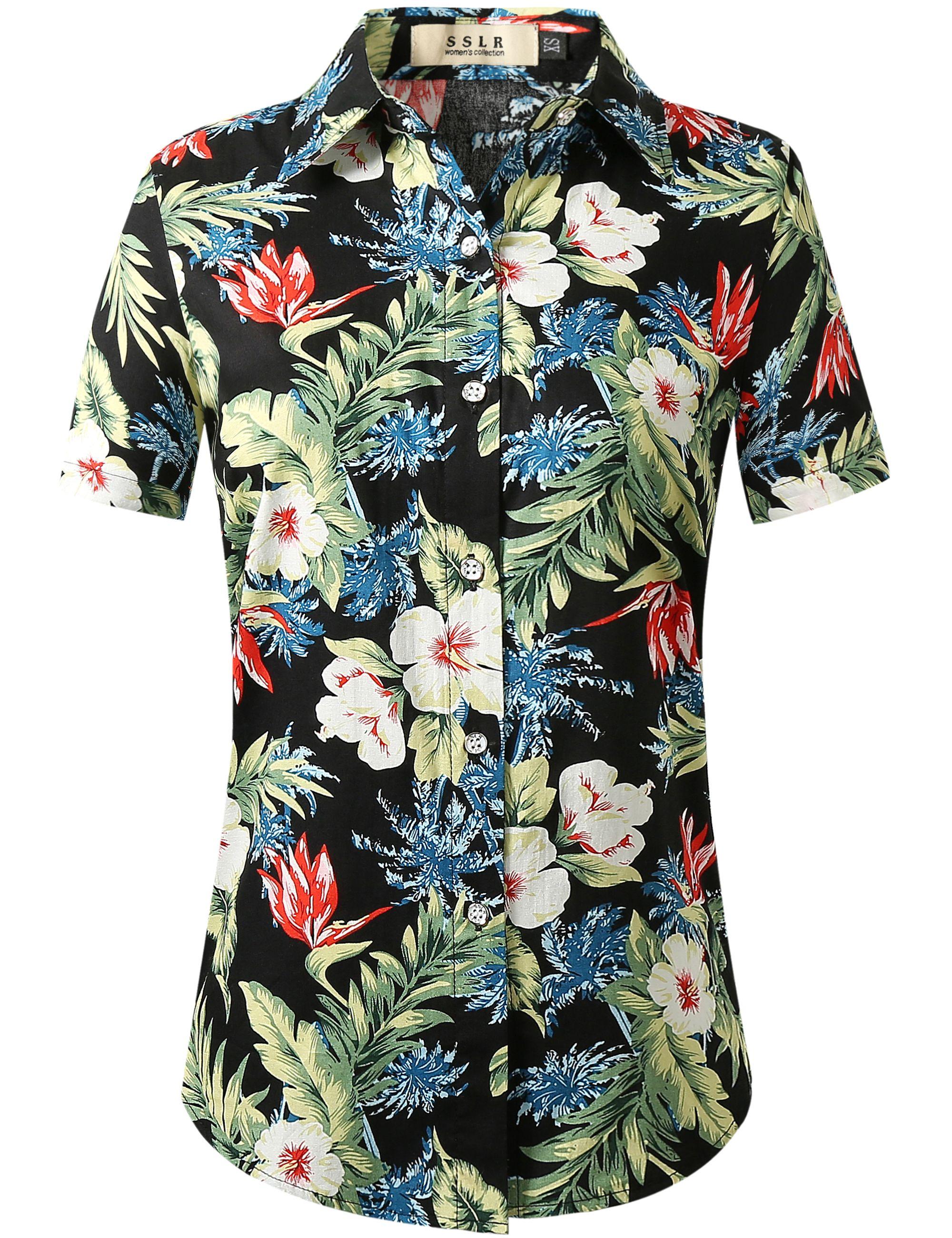 3865664a Summer Tropical Floral Print Hawaiian Shirt for Women, Aloha Tropical Party Hawaiian  Shirt #women #hawaiian shirt #tropical #floral