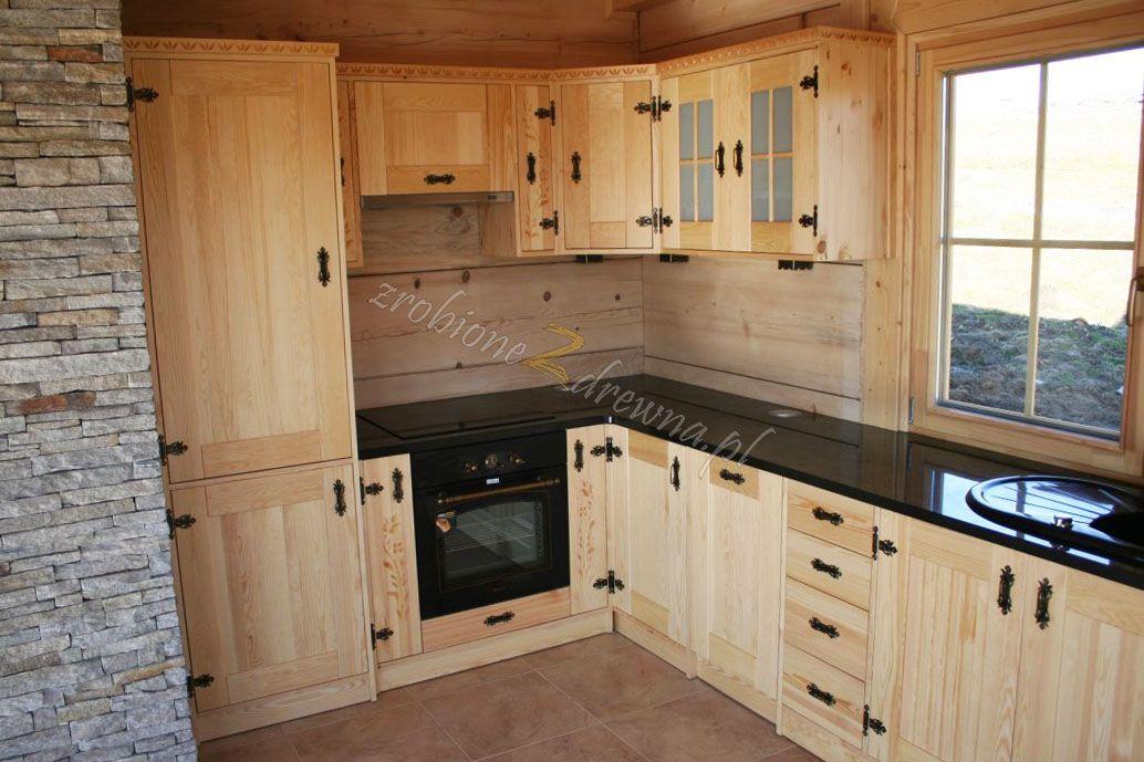 Kuchnia drewniana w stylu góralskim od Woodica Co   -> Kuchnia Grafitowo Drewniana