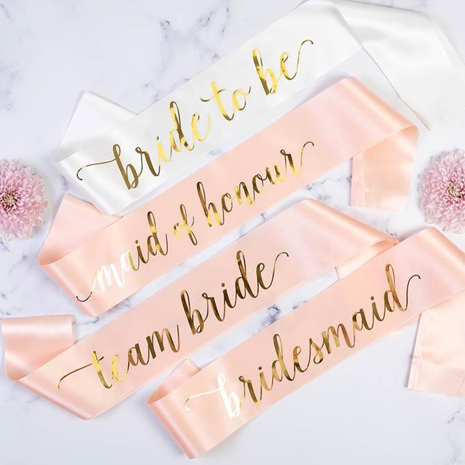 WHITE /& GOLD HENS NIGHT BRIDAL SASH SASHES TEAM BRIDE BRIDESMAID MAID OF HONOUR