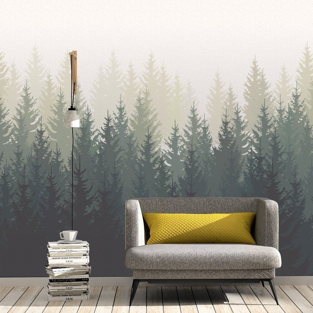 Inspired in pine trees, this wallpaper creates enjoyable