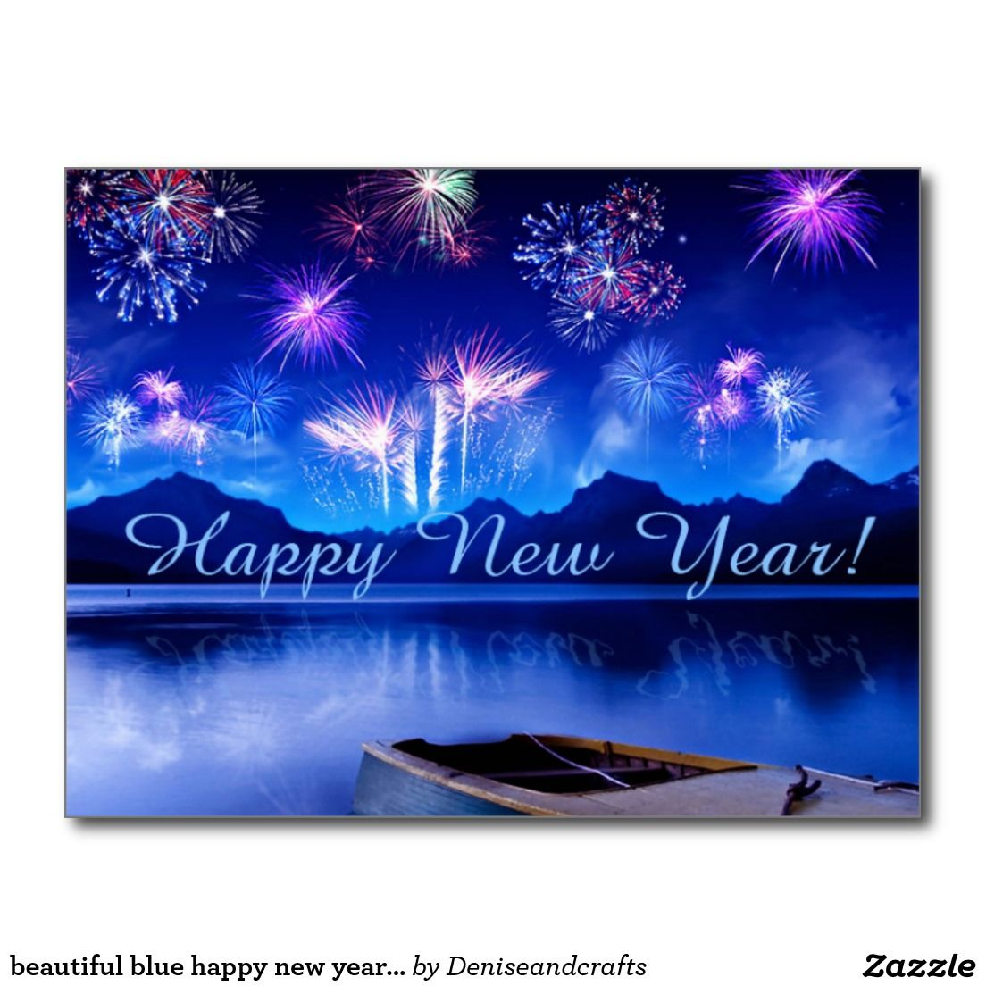 Beautiful Blue Happy New Year Postcard Zazzle Com In 2021 Happy New Year Wallpaper Happy New Year Hd New Year Images