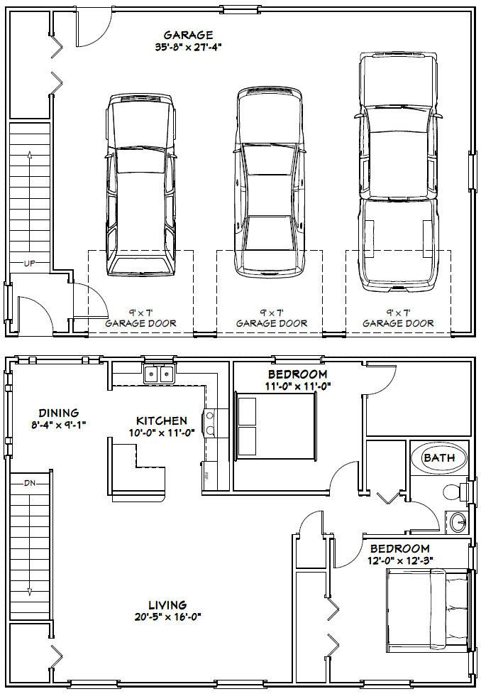 40x28 3 Car Garages 1 136 Sq Ft Pdf Floor Plans Garage Floor Plans Garage House Plans Carriage House Plans