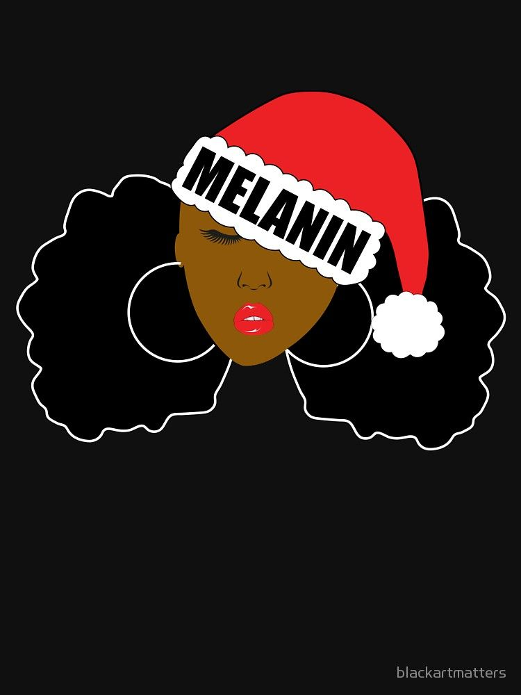 Melanin Afro Puffs Santa Girl By Blackartmatters Afro Puff Black Christmas Afro Hairstyles