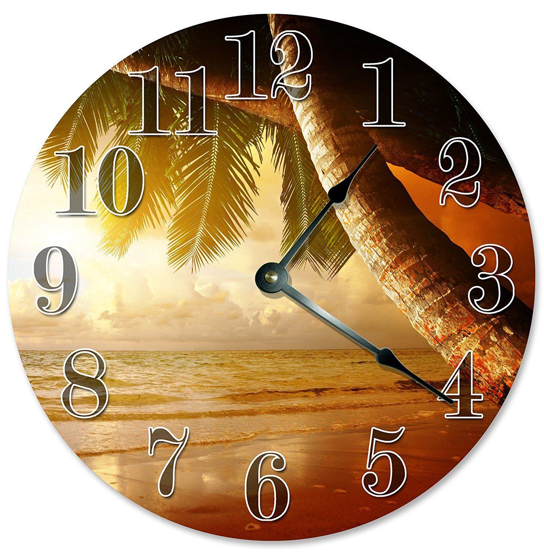 PALM TREES CLOCK Large 10.5\' Wall Clock Decorative Round Wall Clock ...