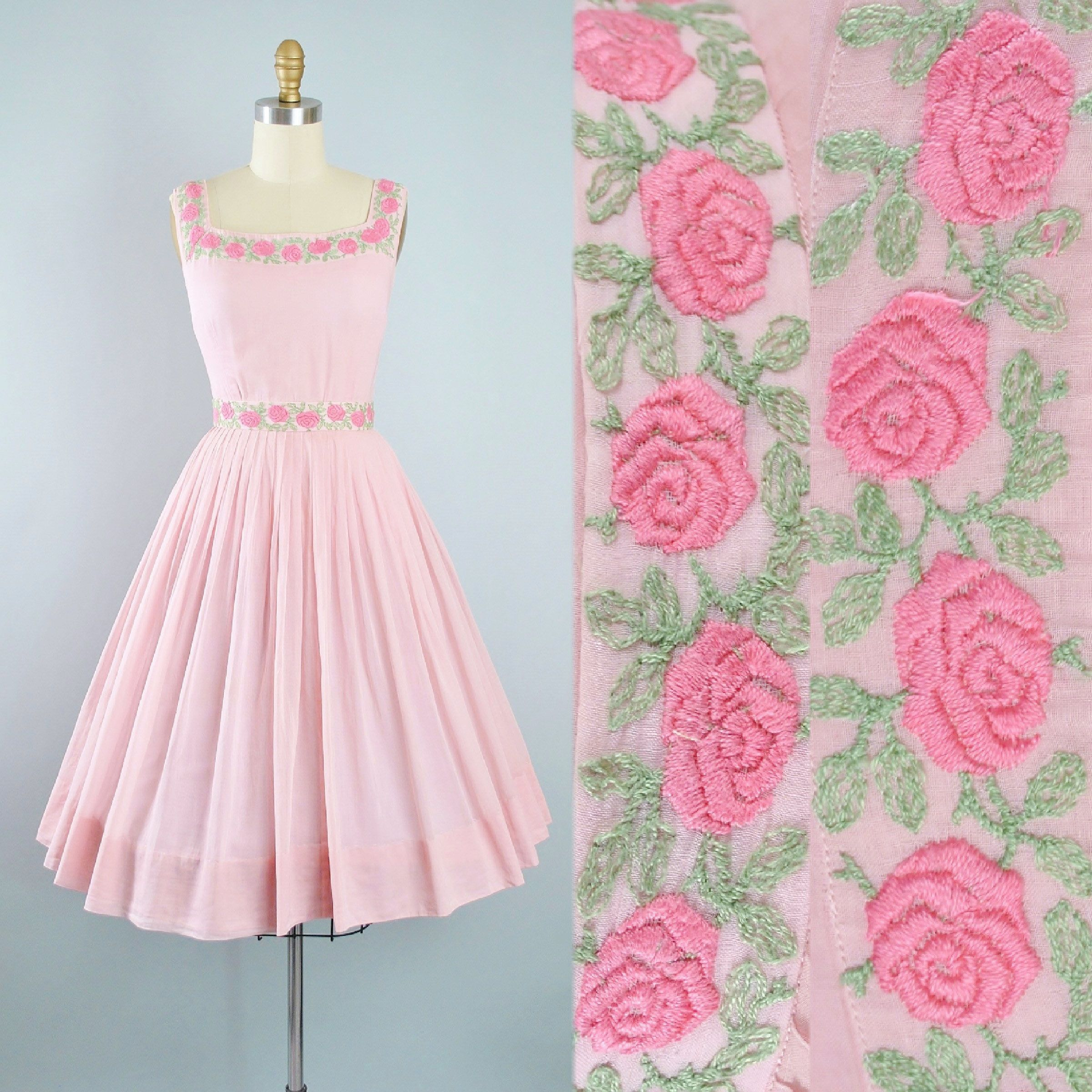 Vintage 1950s Dress Set / 50s 60s Pink EMBROIDERED ROSE Cotton ...