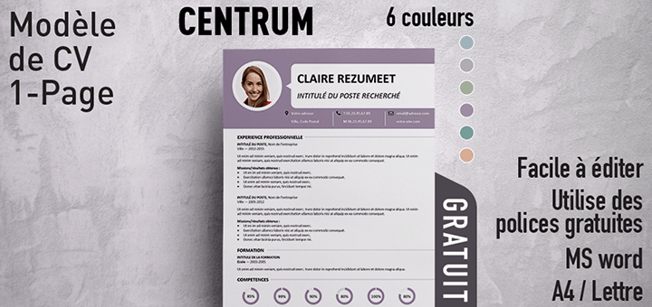 Centrum Modèle de CV 1Page (With images) Event ticket