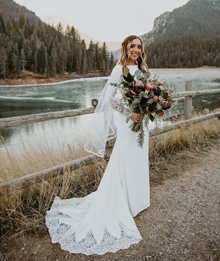 Long Sleeve Dress Wedding Dress Ida Torez Lace Dress Modest Dress Minimal Dress Wedding Hair Wedding Flor Pink Dress Short Modest Wedding Dresses Dresses