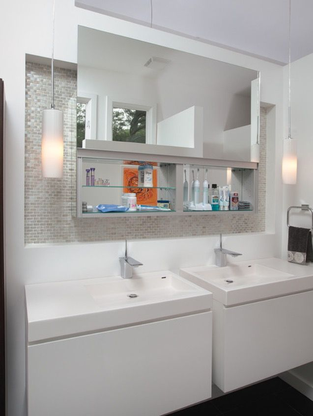 Moveable mirror with hidden storage behind 1424 master - Bathroom mirror with hidden storage ...