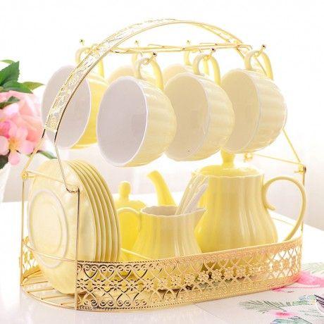 Solid Color Porcelain Tea Sets of 15 For Parties #teapots