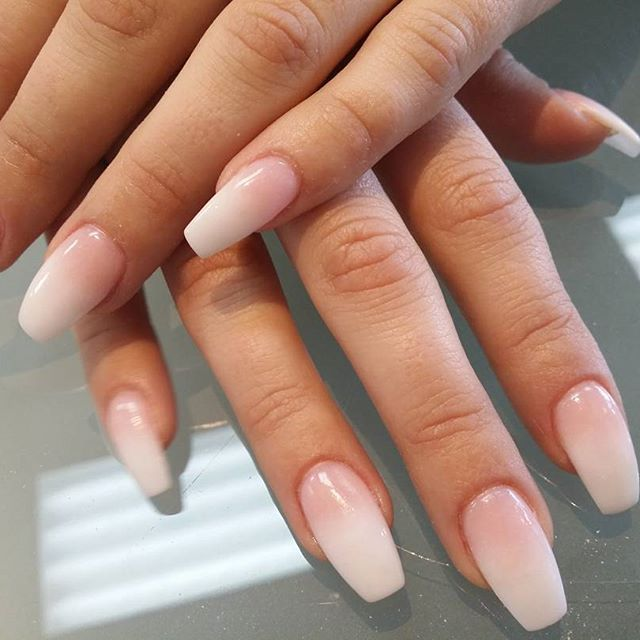 ombre nails light pink and snow white healthier nails