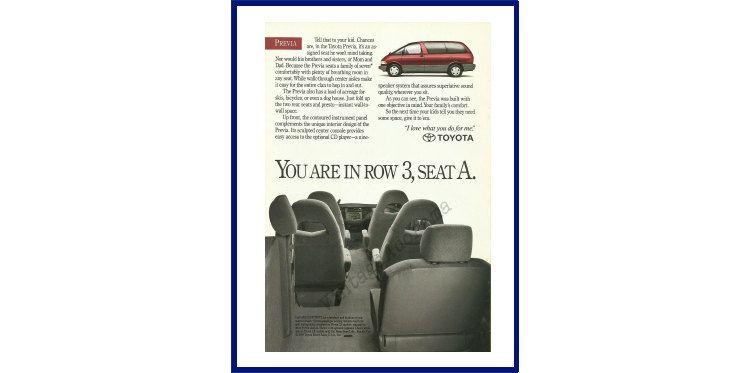 Toyota previa original 1991 vintage color print
