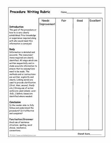 Procedural Writing Rubric Teaching Writing In Kindergarten
