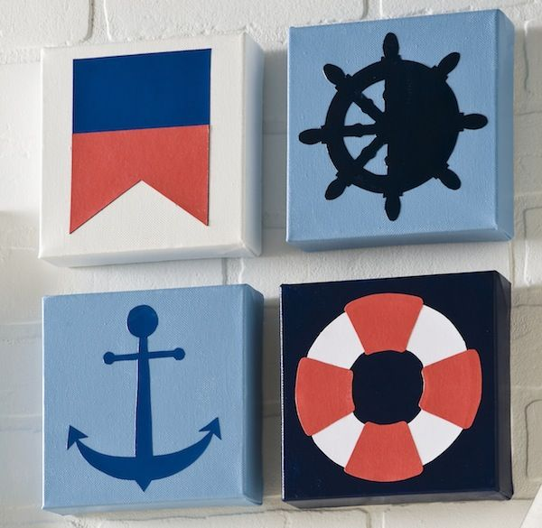 DIY nautical canvases - made with scrapbook paper, paint and Mod Podge