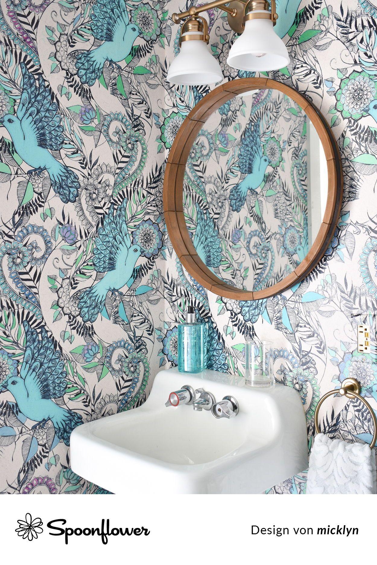 Vogel Botanisch Blumen Illustration Flug Blau Und Grun Blumen Bathroom Wallpaper Bathroom Wallpaper Trends Bathroom Wallpaper Vinyl