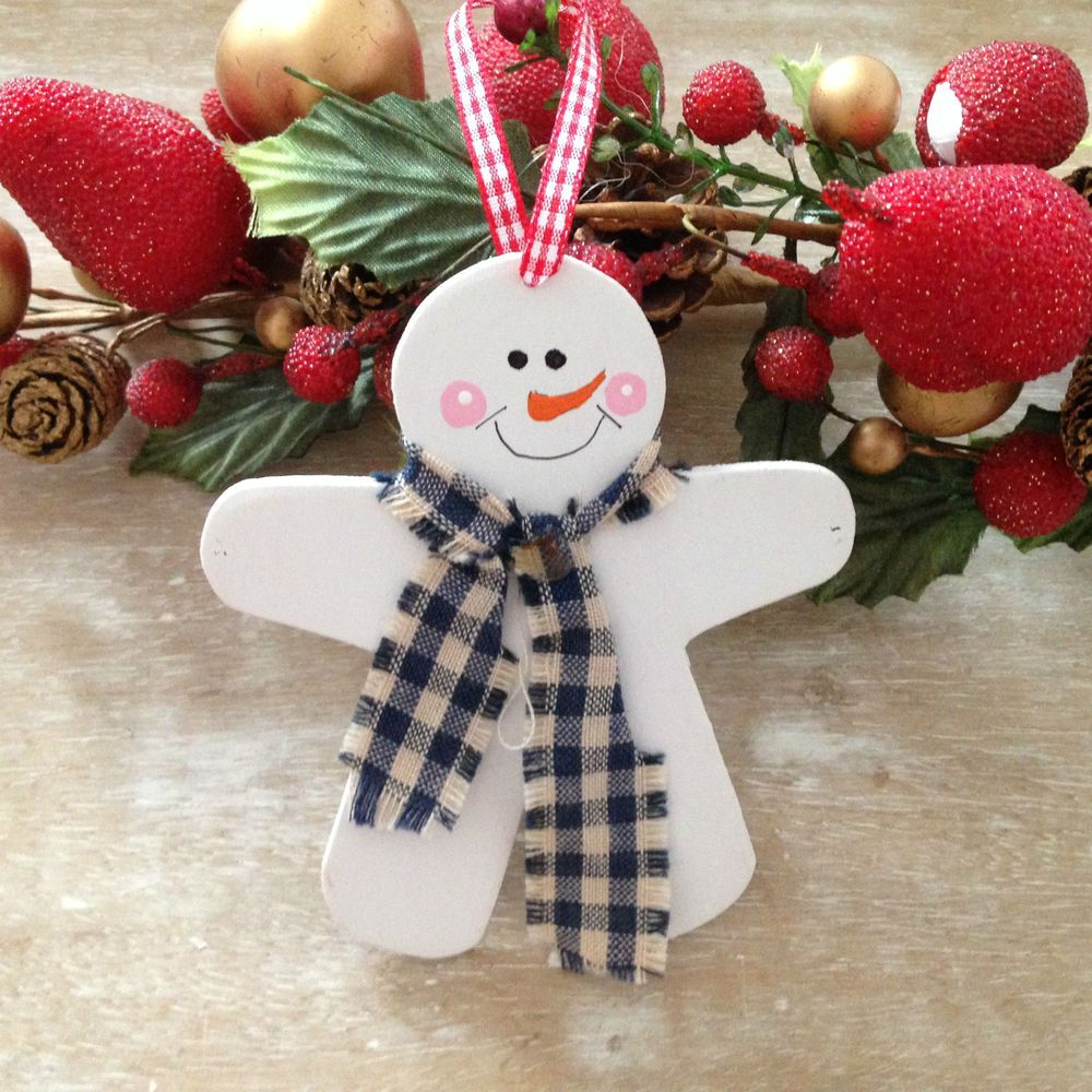 Gingerbread Man Handmade Wooden Christmas Tree Decoration Ornament Snowman Ebay Kids Christmas Ornaments Handmade Christmas Decorations Christmas Ornament Crafts