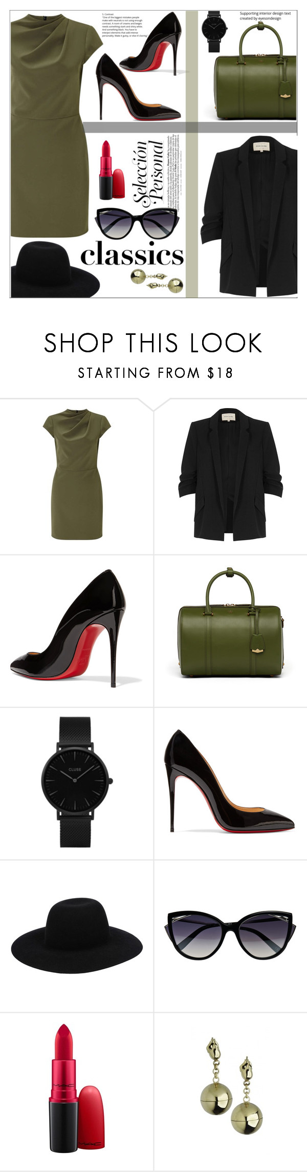 """Classics"" by dani-elan ❤ liked on Polyvore featuring Miss Selfridge, River Island, Christian Louboutin, MCM, CLUSE, Off-White, La Perla, MAC Cosmetics, Caterina Zangrando and Elegant"