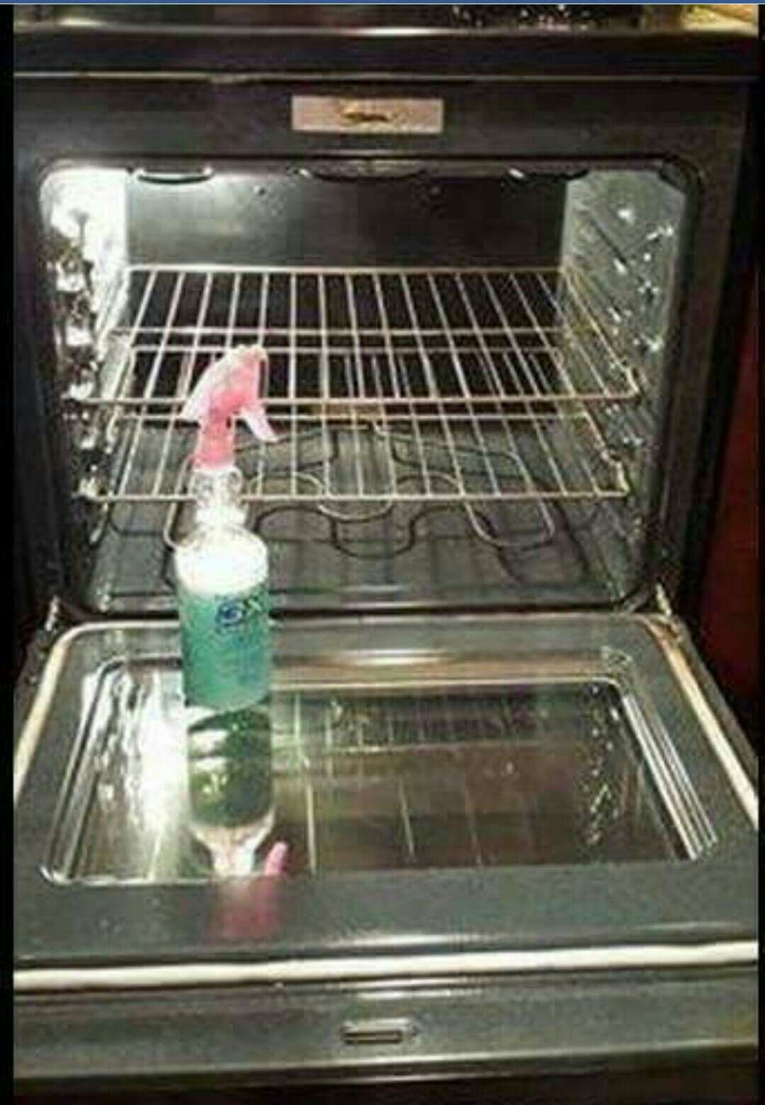DIY Oven Cleaner Into a spray bottle mix 2 oz. Dawn