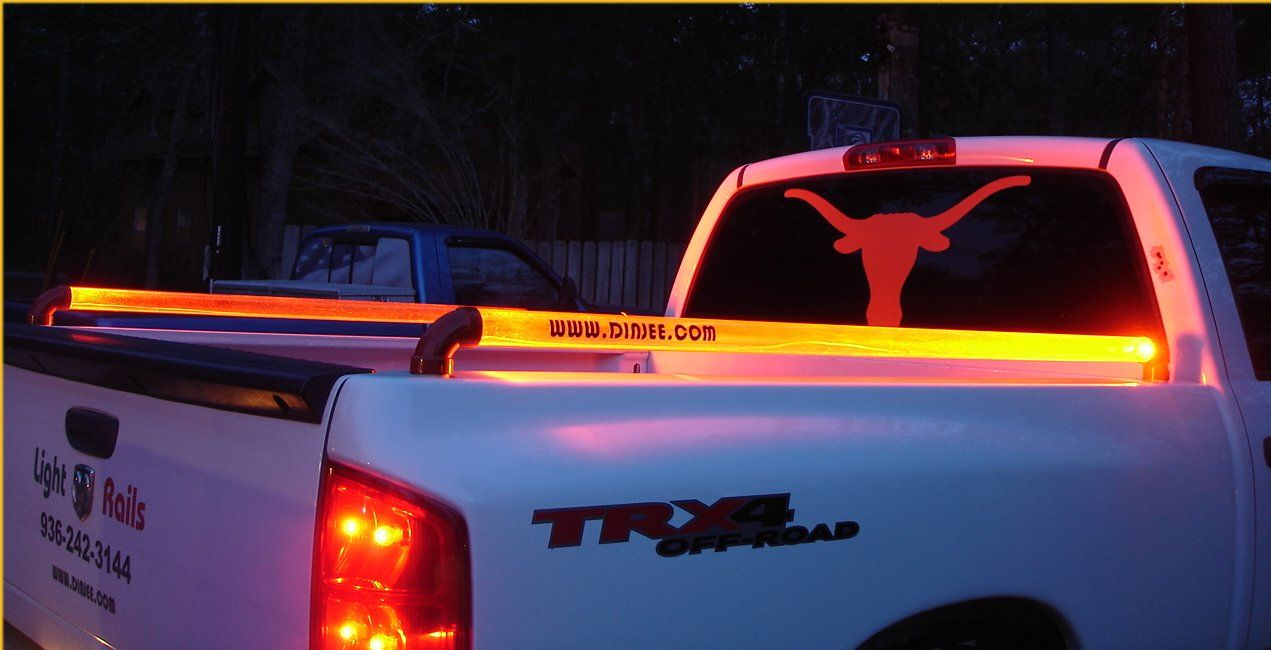 dinjee glo rails a unique led light bar or truck bed rail that can be mounted