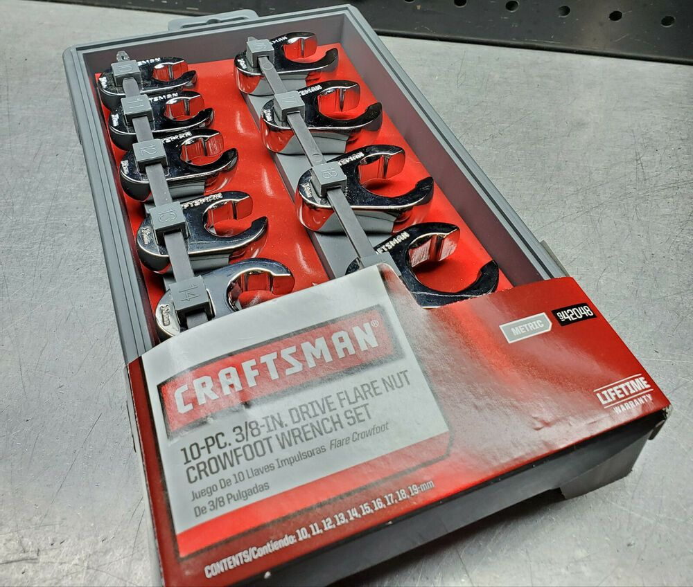 Craftsman 10 Piece 3//8 Drive Metric Crowfoot Flare Nut Wrench Set 10-19mm