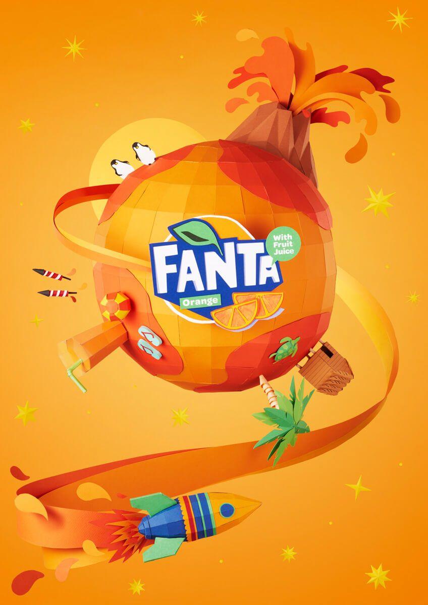 Paper Craft Rebranding For Fanta Flavorland Campaign Illustration