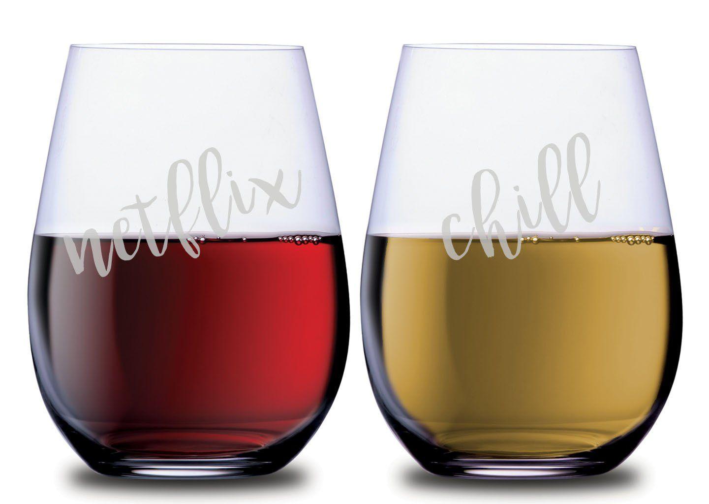 Netflix Chill Wine Glasses Wine Glass Stemless Wine Glasses Wine Lovers