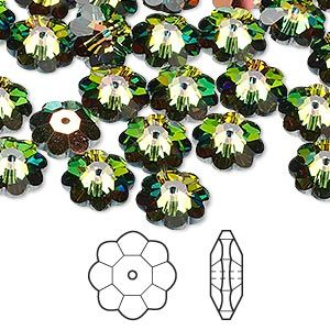 Bead, Swarovski® crystals, crystal vitrail medium, 10x3.5mm faceted margarita flower (3700). Sold per pkg of 12.