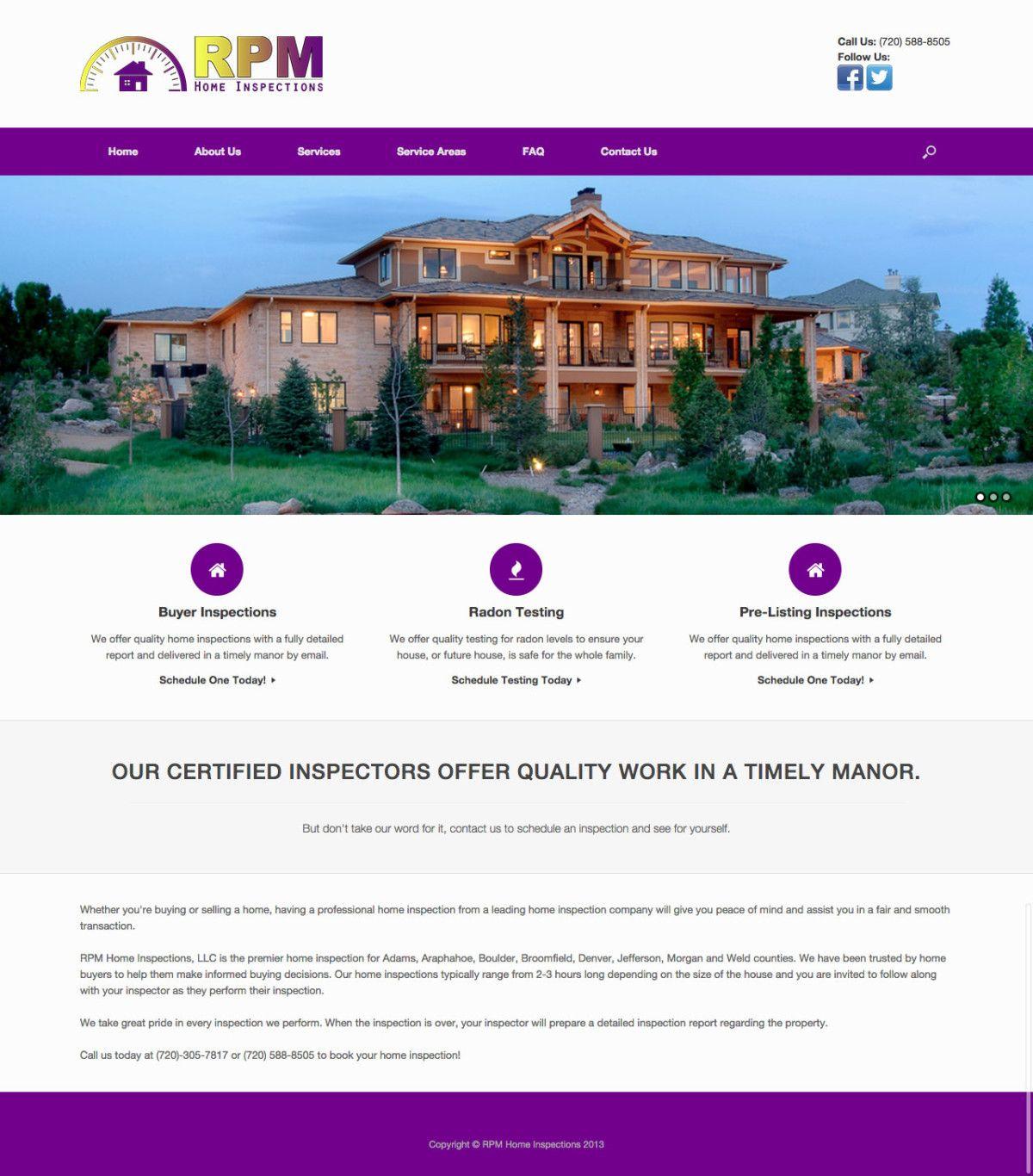 RPM Home Inspections Website Design | Website Design | Pinterest ...